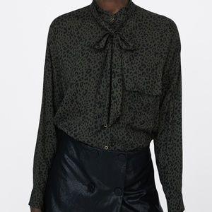 NWT Zara Leopard Print Shirt Pussybow Buttondown